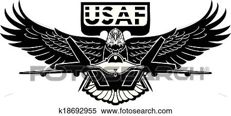 clipart of us air force military design k18692955 search clip rh fotosearch com air force clip art for opsec puzzle air force clip art rank