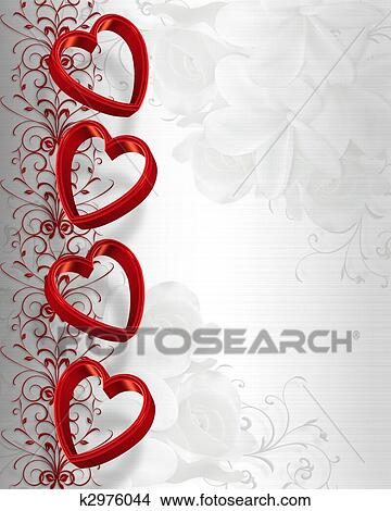 Drawings Of Valentines Day Hearts Border K2976044 Search Clip Art