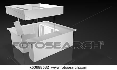 Exhibition Stand Drawing : White exhibition stand square shape design with open door on black