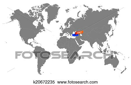 World map of turkey Clipart