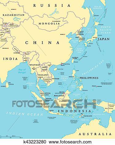 Landkarte Asien.Ostliches Asien Politisch Landkarte Clipart