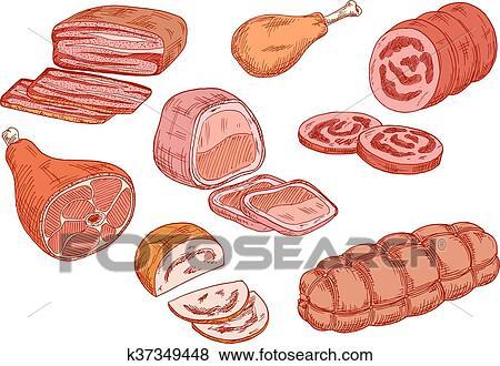 النقانق لحم خنذير أيضا الخبيز غذاء رسم الإيقونات Clip Art K37349448 Fotosearch
