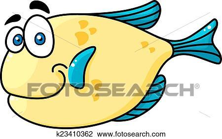 Cartooned Sorrindo Peixe Com Olhos Grandes Clipart K23410362