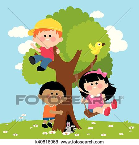 Children Playing On A Tree Clip Art K40816068 Fotosearch