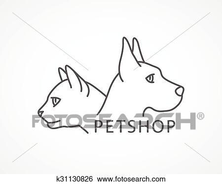 Coccolare Negozio Illustrazione Di Un Cane E Gatto Clip Art