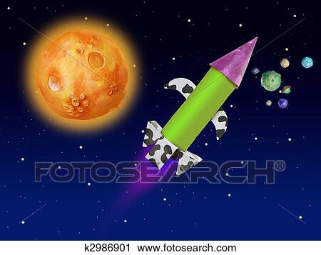 Colorful Fantasy Rocket Flying Into Blue Space Clip Art