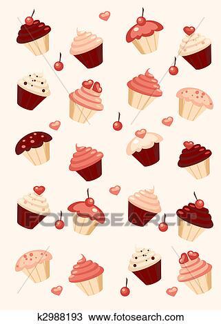 Kresba Cupcake Background K2988193 Prehľadavaj Klipart