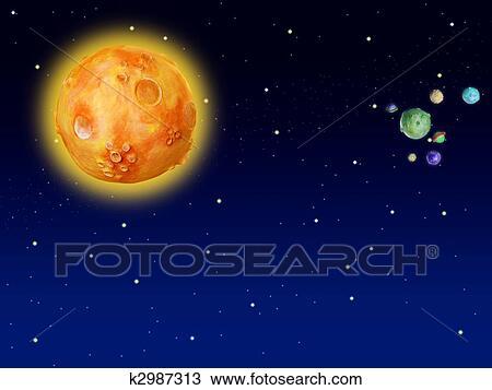 Dessin Espace Planetes Fantasme Fait Main Univers K2987313