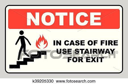 Clipart Of In Case Of Fire Use Stairway For Exit Sign Vector Symbol