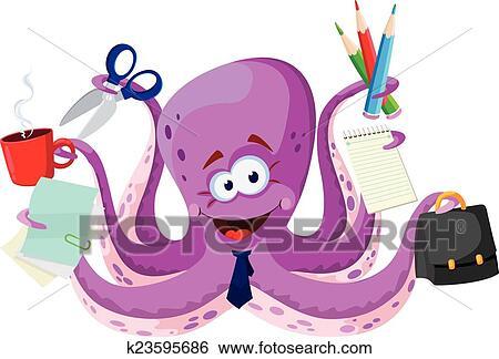 Forniture Per Ufficio : Clip art polpo con forniture per ufficio k cerca