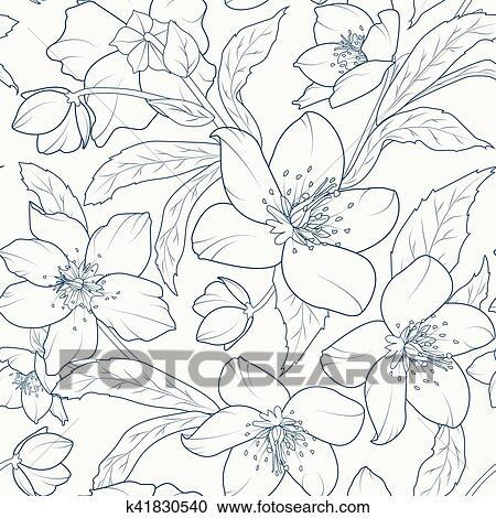 Clipart Rose Noel Ellebore Fleurs Modele Bleu Sombre K41830540