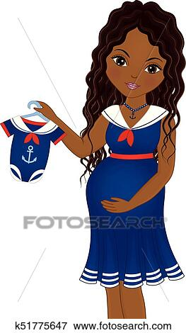 Vector Pregnant African American Woman Dressed In Nautical