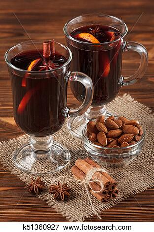 Winter Horizontal Mulled Wine Banner Glasses With Hot Red Wine And Spices On Wooden Background Stock Photo K51360927 Fotosearch