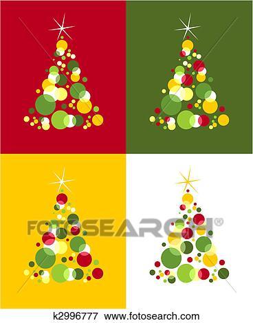 Arvores Natal Pattern Colorido Bolhas Com Estrela Cima