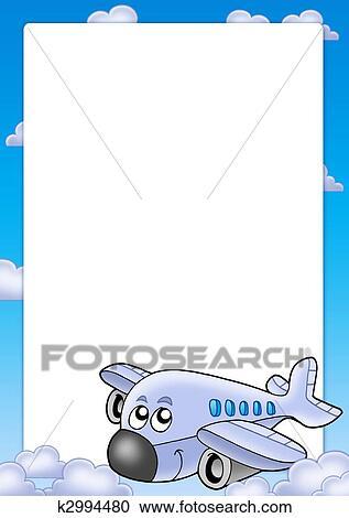 フレーム で かわいい 飛行機 そして 雲 クリップアート切り