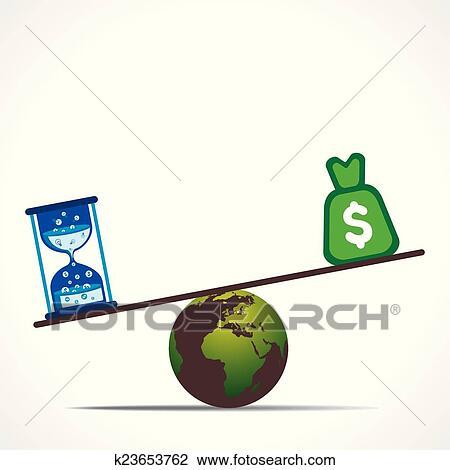 Clipart Compare Dollar And Time Concept Fotosearch Search Clip Art Ilration Murals