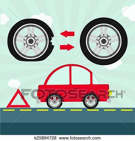 Flat Tire On The Road Clip Art K25894728 Fotosearch