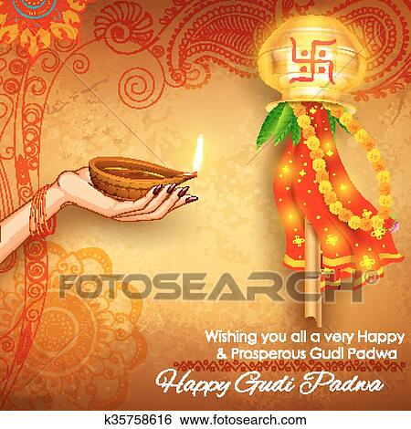 Clip art of gudi padwa k35758616 search clipart illustration illustration of gudi padwa lunar new year celebration of india with message in marathi gudi padwachi hardik shubhechha meaning heartiest greetings of m4hsunfo
