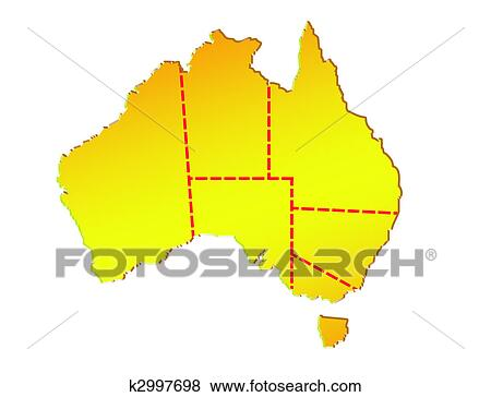 Map Of Australia Showing States.Map Of Australia Showing Eight States And Its Boundaries Stock Illustration