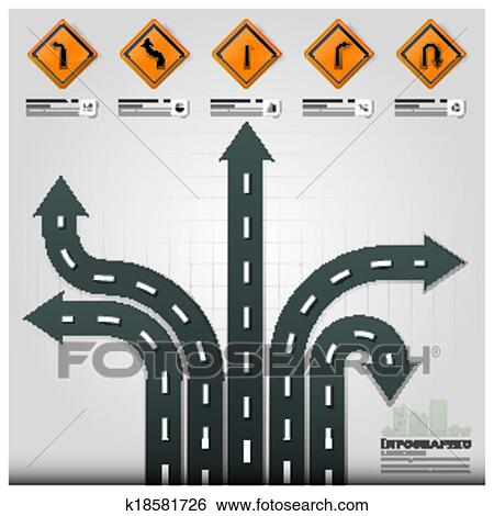Clip Art Of Road And Street Traffic Sign Business Infographic Design