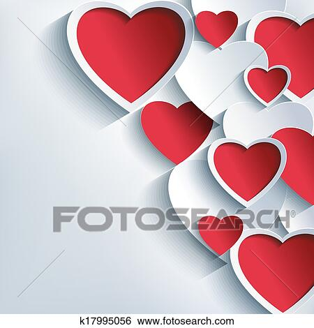 Clip Art Of Stylish Valentines Day Background With 3d Red And Gray