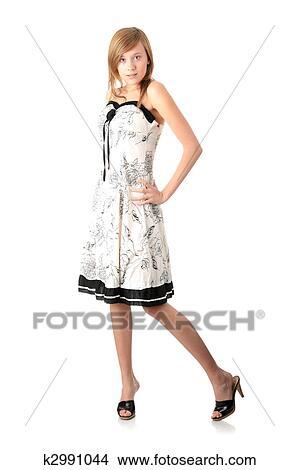 Stock Foto - teenager, blond, mädchen, in, elegante, weisses kleid ...