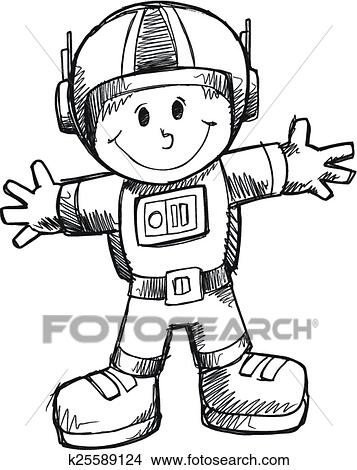 أعبث رسم رائد فضاء طريقة Clipart K25589124 Fotosearch