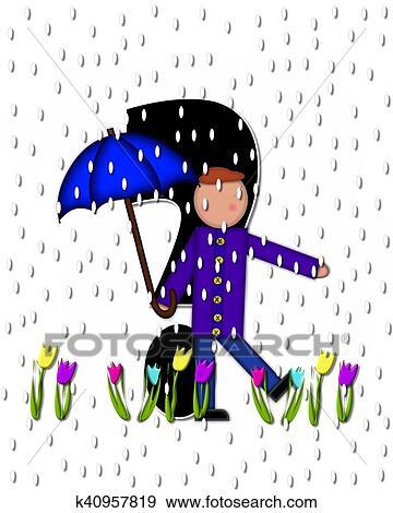 Colección de ilustraciones - alfabeto, niños, abril, duchas ...