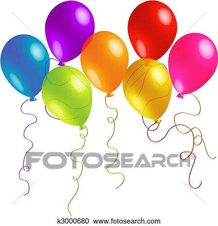 Beautiful Birthday Balloons With Long Ribbons Clipart