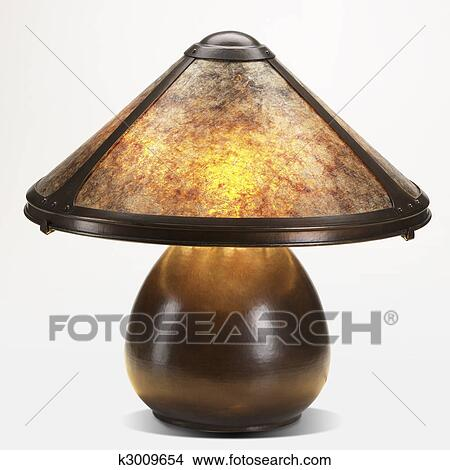 Stock Photo Of Copper And Mica Shade Table Lamp K3009654 Search