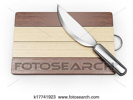 Cutting Board And Kitchen Knife Isolated On White Background. 3d Render