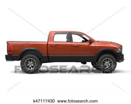 Dark Orange Modern Pick Up Truck Side View Clipart