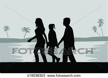 Family Walk In The Beach Black And White Illustration Clipart