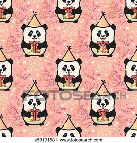 Happy Birthday Design With Gift Box With Cute Panda Bear And.. Royalty Free  Cliparts, Vectors, And Stock Illustration. Image 99583260.