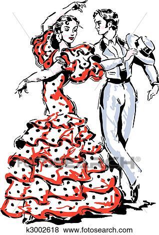 Clipart flamenco espagnol vecteur illustration k3002618 recherchez des cliparts des - Dessin espagne ...