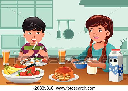 Clipart Kinder Essen Gesundes Frühstück K20385350 Suche Clip