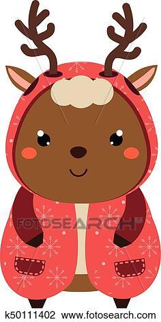 Clipart Mignon Reindeer Dessin Animé Kawaii Animal Character
