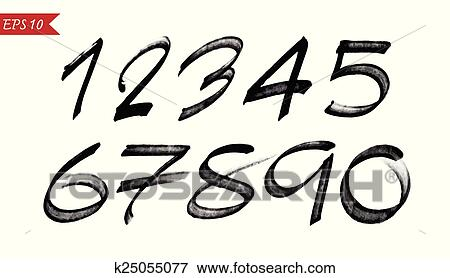 Clip Art Of Numbers 0 9 Written With A Brush On White Background