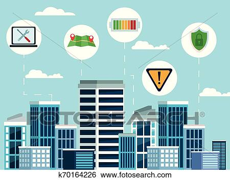 city internet connectivity icon cartoon clip art k70164226 fotosearch fotosearch