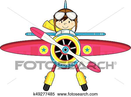 Cute Pilot And Plane Clipart K49277485 Fotosearch