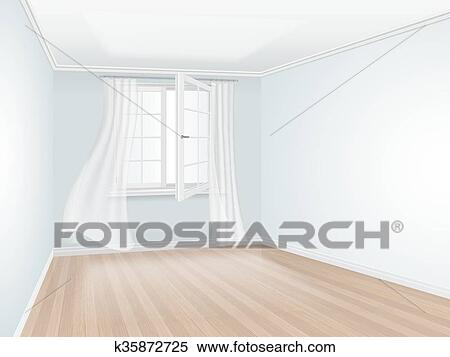 . Empty room with blue wall and open window Clipart