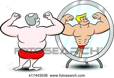 clip art of fat muscle man k17443536 search clipart illustration rh fotosearch com Animated Muscle Man muscle man clipart free
