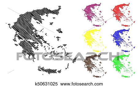 Greece map vector Clipart | k50631025 | Fotosearch