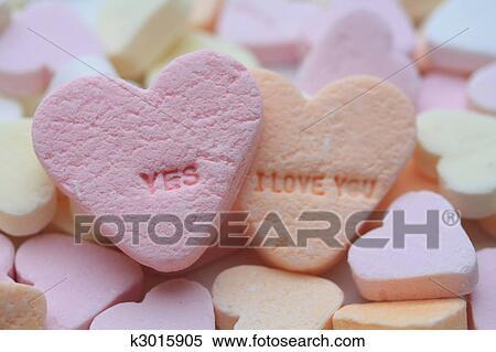 Uitgelezene Ja, i houd van u, valentijn, hartjes Stock Fotografie | k3015905 QU-32