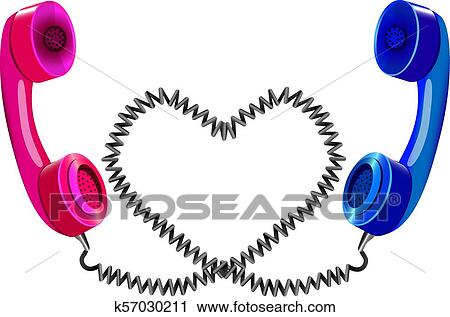 Clipart Of Long Distance Love Two Telephone Handsets K57030211