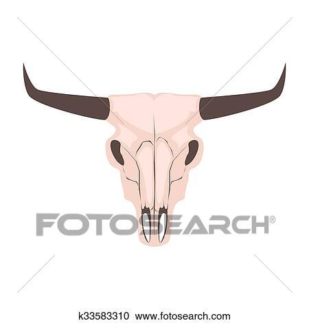 Longhorn Cow Skull Head Vector Illustration Clipart K33583310