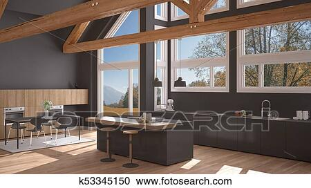 Modern Kitchen In Classic Villa Loft Big Panoramic Windows On Autumn Meadow White And Gray Minimalist Interior Design Stock Image K53345150 Fotosearch