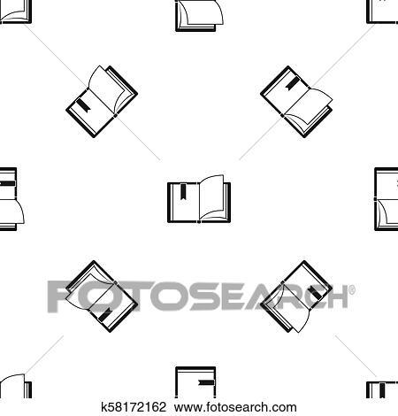 Opengeslagen Boek Motieven Seamless Black Tekening
