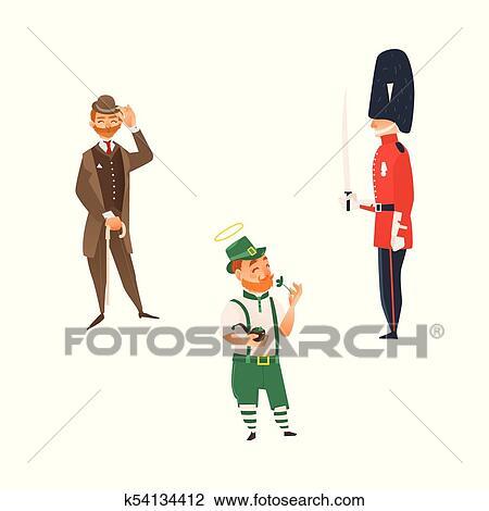 Clipart Vettore Cartone Animato Persone Regno Unito Nazionale