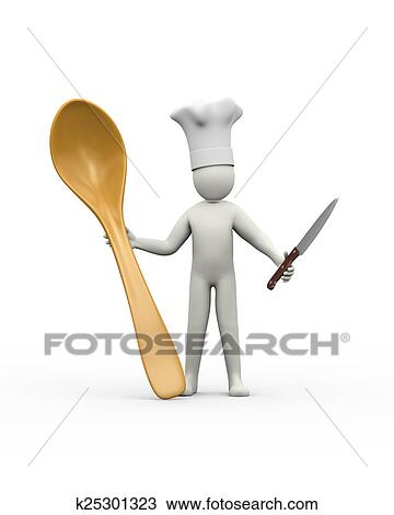 3d Chef With Kitchen Knife And Spoon Drawing